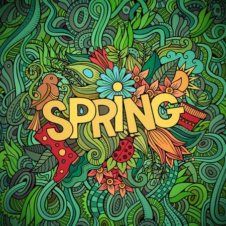 primavera: Letras de la mano de Primavera y garabatos elementos de ilustraci�n vectorial