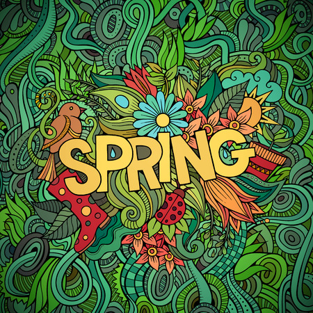 spring message: Spring hand lettering and doodles elements vector illustration