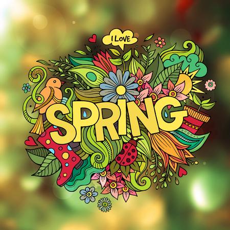 spring background': Spring hand lettering and doodles elements. Vector blurred illustration