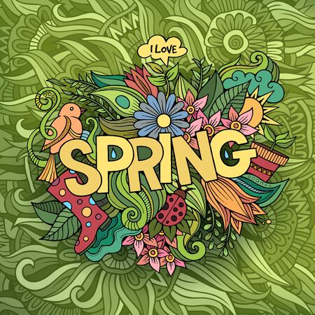 Spring hand lettering and doodles elements vector illustration illustration