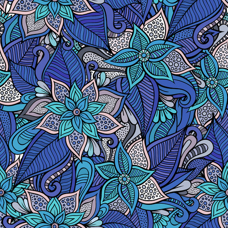 fashion illustration: Beautiful decorative hand drawn floral ornamental seamless pattern Illustration