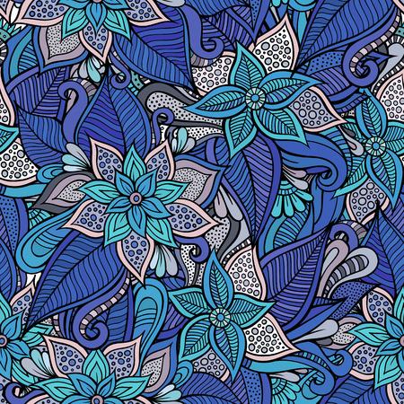 Beautiful decorative hand drawn floral ornamental seamless pattern Illustration