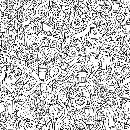 Coffee abstract decorative doodles vector seamless pattern