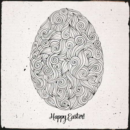 beautiful jesus: Doodles abstract hand drawn ornament easter egg background Illustration