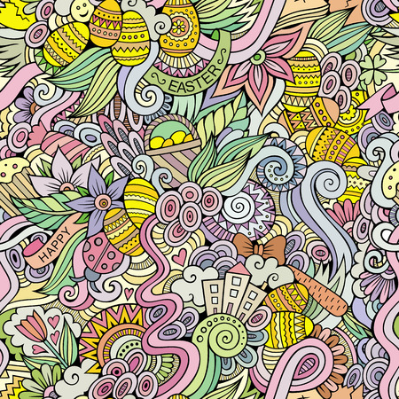Easter hand drawn doodles vector seamless pattern Vector