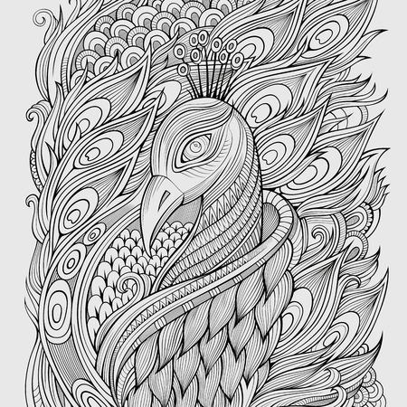 dessin au trait: D�coratif abstrait d�coratif fond de paon. Vector illustration
