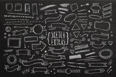 Hand drawn sketch elements. Vector chalkboard illustration. Vector