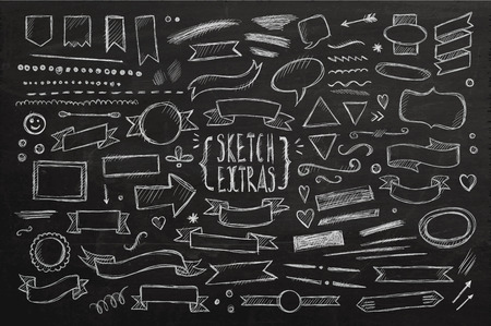 with sets of elements: Hand drawn sketch elements. Vector chalkboard illustration.