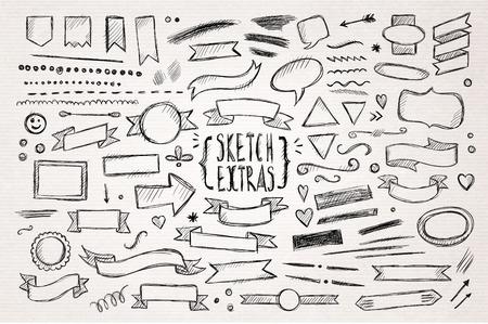 Hand drawn pen sketch elements. Vector illustration. Иллюстрация