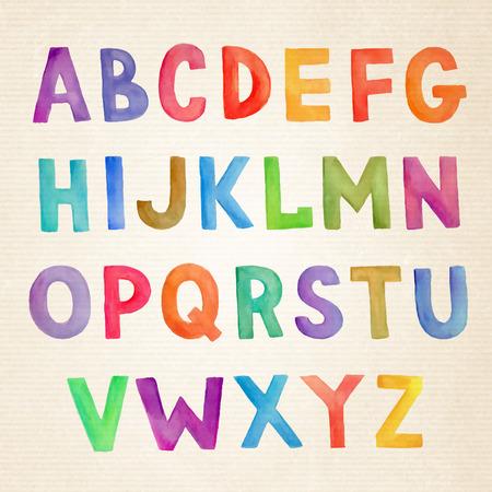 lindo: Acuarela mano vector colorido dibujado alfabeto manuscrita