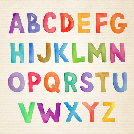 cute: Watercolor hand drawn colorful vector handwritten alphabet