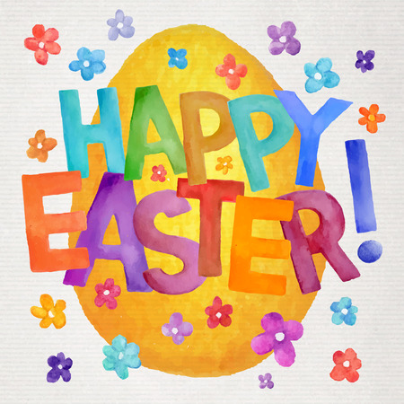 Happy Easter vector artistic hand painted watercolor illustration Vector