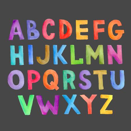 tipos de letras: Acuarela mano vector colorido dibujado alfabeto manuscrita