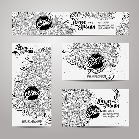 retro art: Corporate Identity vector templates set with doodles easter theme