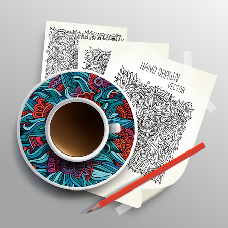 bezel: Coffee cup on sketches concept idea, Vector illustration modern template design