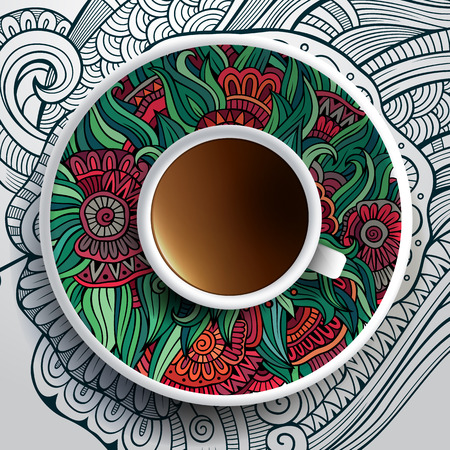 coffee cup vector: Vector illustration with a Cup of coffee and hand drawn floral ornament on a saucer and background