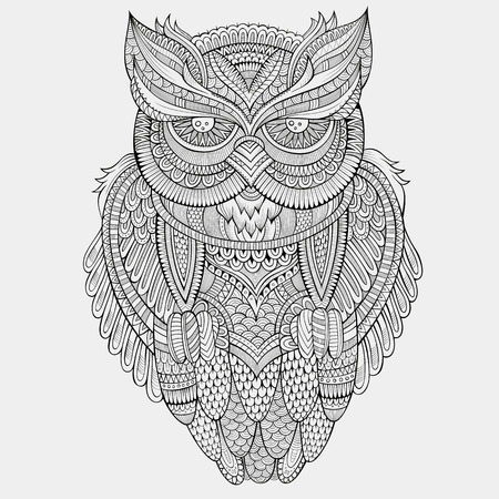 owl symbol: Decorative abstract ornamental Owl. Vector hand drawn illustration Illustration