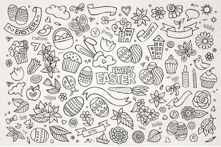 hand drawn cartoon: Easter hand drawn vector symbols and objects Illustration