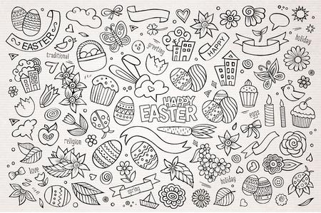 huevos de pascua: Mano Pascua dibujado s�mbolos y objetos vectoriales