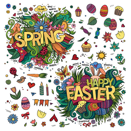 Easter and Spring hand lettering and doodles elements. Vector illustration