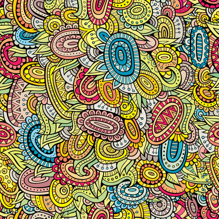 background swirl: Vector deco abstract decorative doodles seamless pattern