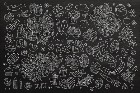 Easter hand drawn vector symbols and objects Vector