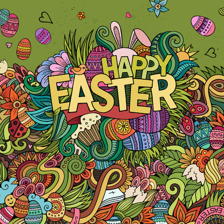 Easter hand lettering and doodles elements vector illustration Vector