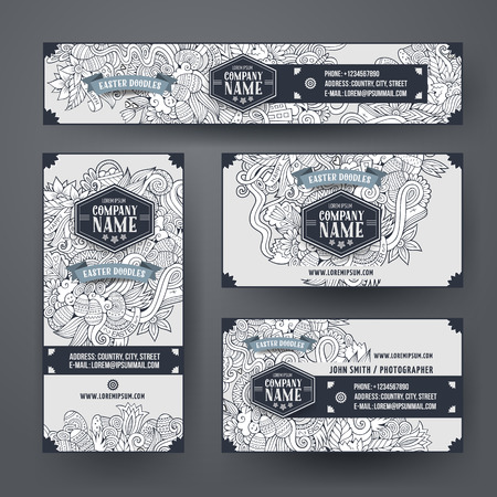 e ink: Corporate Identity vector templates set with doodles easter theme