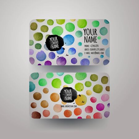 colorfull: Vector watercolor colorfull dots paint card design