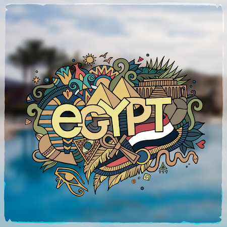 Egypt hand lettering and doodles elements background. Vector blurried illustration Vector
