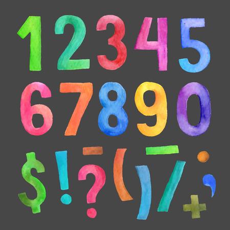 números: Acuarela vector coloridos n�meros y s�mbolos escritos a mano Vectores