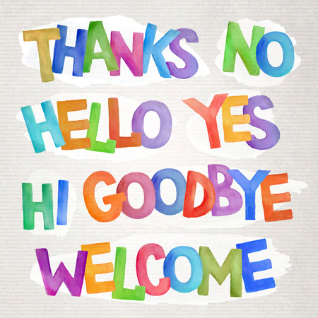 goodbye: Vector hand drawn colorfull watercolor phrases and words