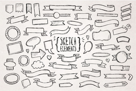 pencil and paper: Hand drawn sketch hand drawn elements. Vector illustration.