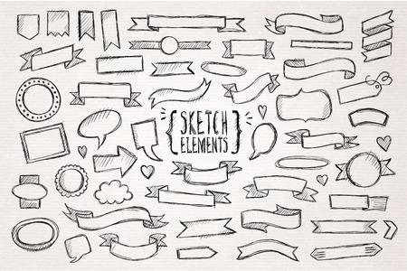 ruban noir: Tiré par la main des éléments tirés de la main croquis. Vector illustration.