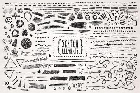 lineas decorativas: Dibujado a mano elementos dibujados a mano dibujo. Ilustraci�n del vector.