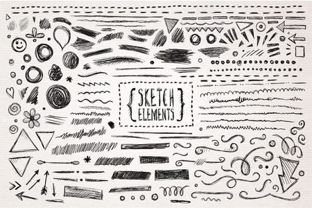 hand with pencil: Hand drawn sketch hand drawn elements. Vector illustration.