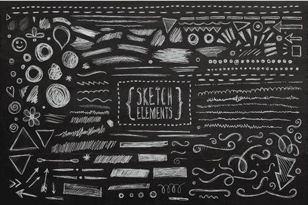 dibujos lineales: Dibujado a mano elementos dibujados a mano dibujo. Vector pizarra ilustración.