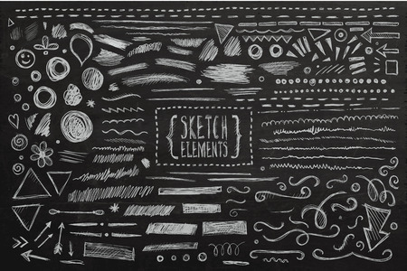 hand with pencil: Hand drawn sketch hand drawn elements. Vector chalkboard illustration. Illustration