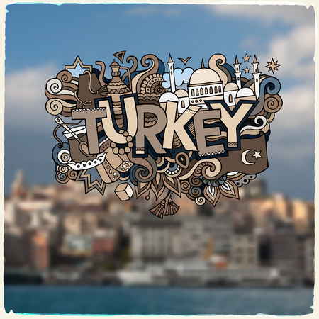 turkey beach: Turkey hand lettering and doodles elements background.  Illustration