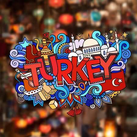 turkey istanbul: Turkey hand lettering and doodles elements background.  Illustration