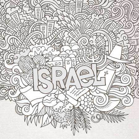 the rabbi: Israel hand lettering and doodles elements background.  Illustration