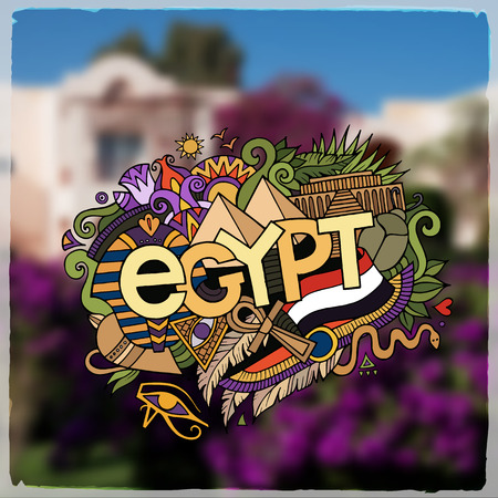 Egypt hand lettering and doodles elements background.  Vector