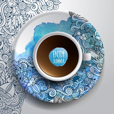 illustratie met een kop koffie en met de hand getekende aquarel zomer doodles op een schotel en achtergrond