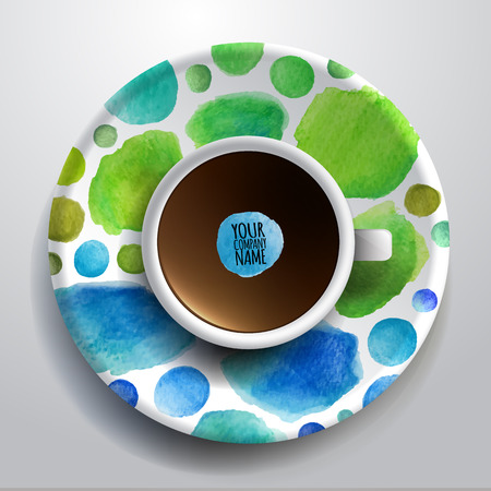 bezel: illustration with a Cup of coffee and hand drawn watercolor on a saucer