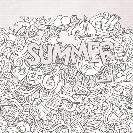 Summer hand lettering and doodles elements. Vector illustration Vector
