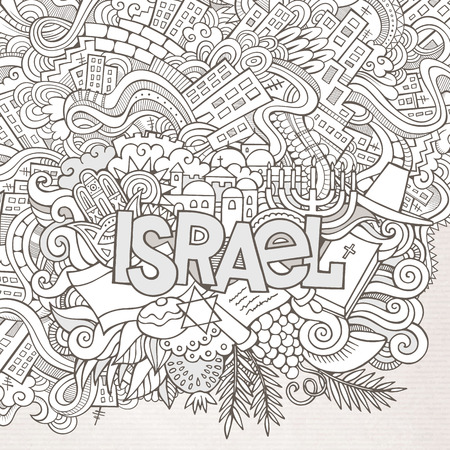 jews: Israel hand lettering and doodles elements background. Vector illustration Illustration