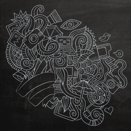 creative work: Photography doodles elements sketch background. Vector chalkboard illustration