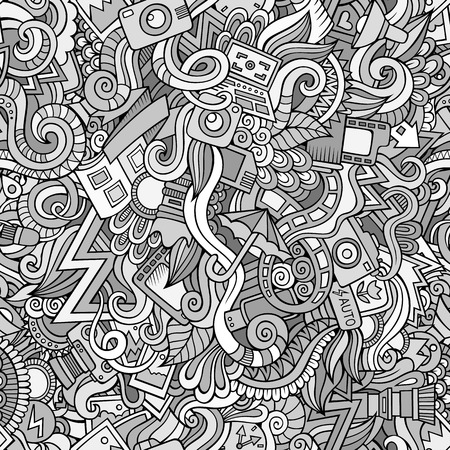 Photography abstract decorative doodles cartoon seamless pattern
