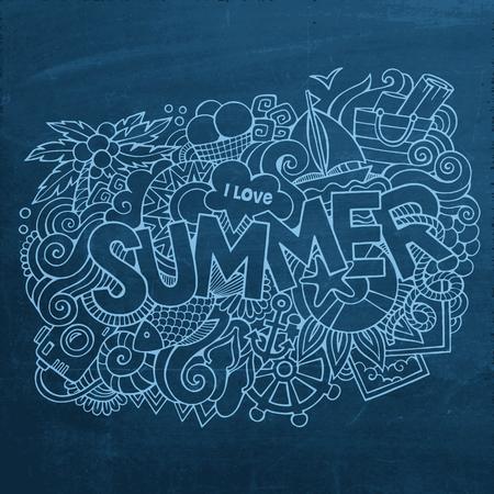 Summer hand lettering and doodles elements. Vector chalkboard illustration Vector