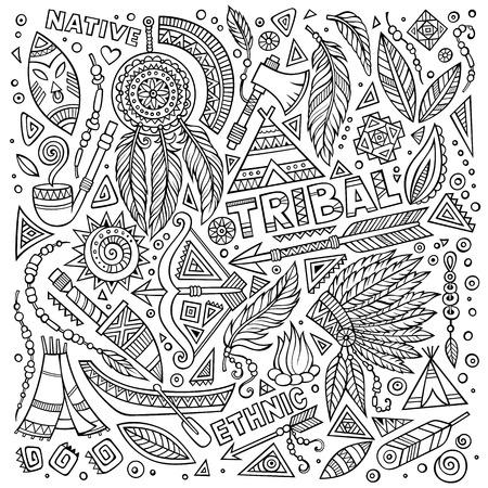 tribales: Abstracta conjunto nativo americano tribal de los símbolos Vectores